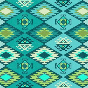 Diamond Kilim - Turquoise - Texture