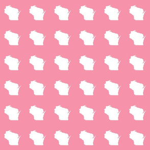 "mini Wisconsin silhouette - 3"" white on pink"