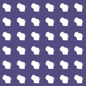 "mini Wisconsin silhouette - 3"" white on purple"