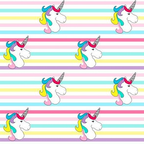 Unicorn on Rainbow Stripes