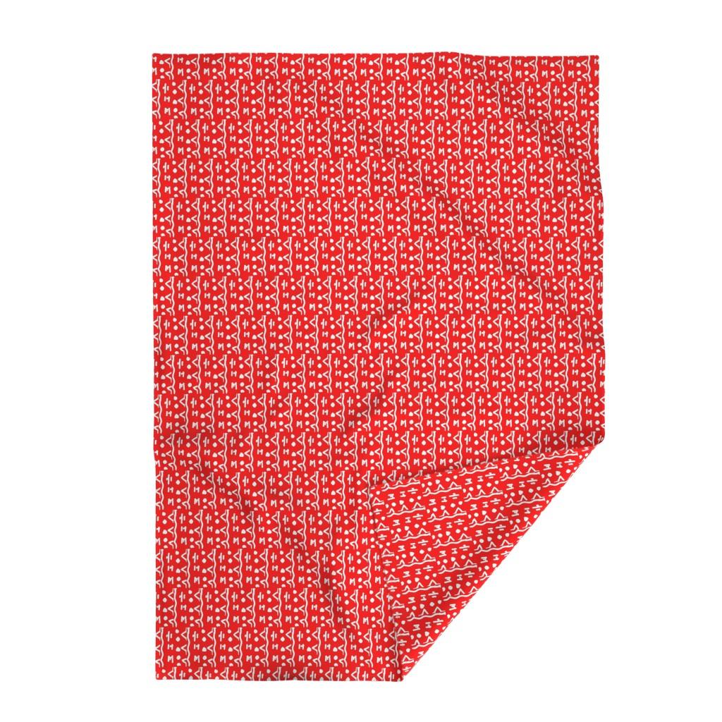 Lakenvelder Throw Blanket featuring Haba Jiri  Red Black & White 2 by tabasamu_design