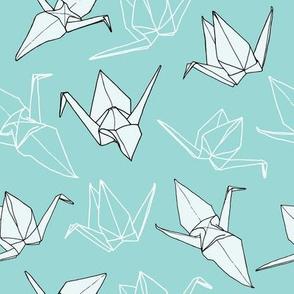 Origami Cranes in Seafoam (original)