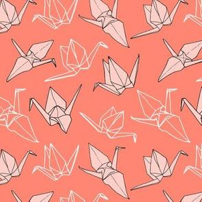 Origami Cranes in Coral (small)
