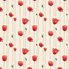 Poppies Time on Beige