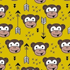 Little monkey friends inky arrows geometric animals design mustard yellow