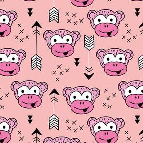 Little monkey friends inky arrows geometric animals design pink girls