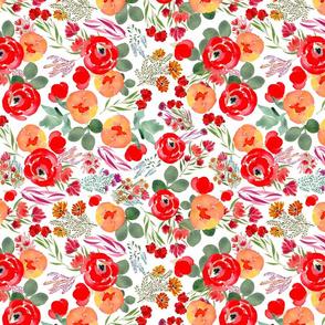 Wild Flowers Orange and Red Summer Vintage Floral