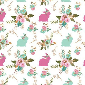 """Small Bunnies Mint and Pink 1.25"""""""