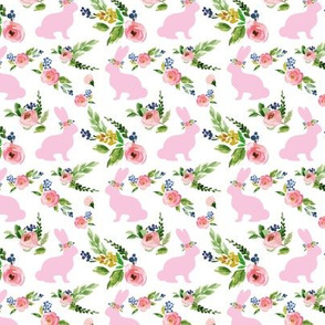 Pink Small Bunnies Spring Floral 1.25""