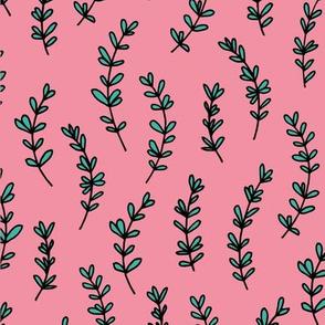 Minimal garden pop branch plant leaves pink mint