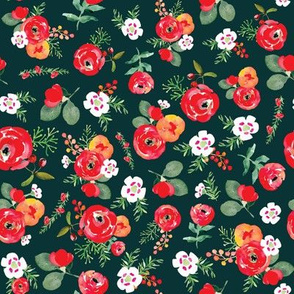 Christmas Floral Green and Red Watercolor Christmas Floral Vintage Christmas