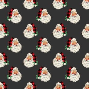 "1.3"" SMALL Buffalo Plaid Santa on Charcoal"
