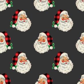 "Buffalo Plaid Vintage Santa 2.4"" Tall on Charcoal Gray"