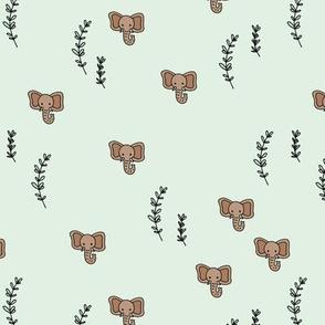 Elephant jungle nature love gender neutral mint