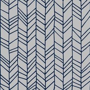 Navy + Grey Crazy Chevron Herringbone Gray Hand Drawn Geometric Pattern GingerLous