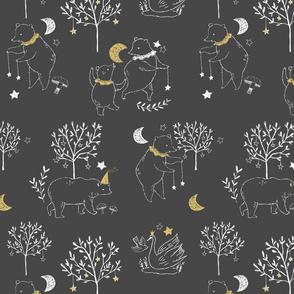 Fable Bears - dark gray and mustard