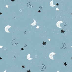 Moon and Stars - Blue