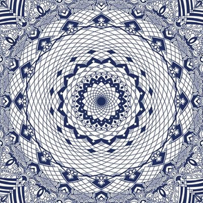 Boho Blue Willow China Pattern on White