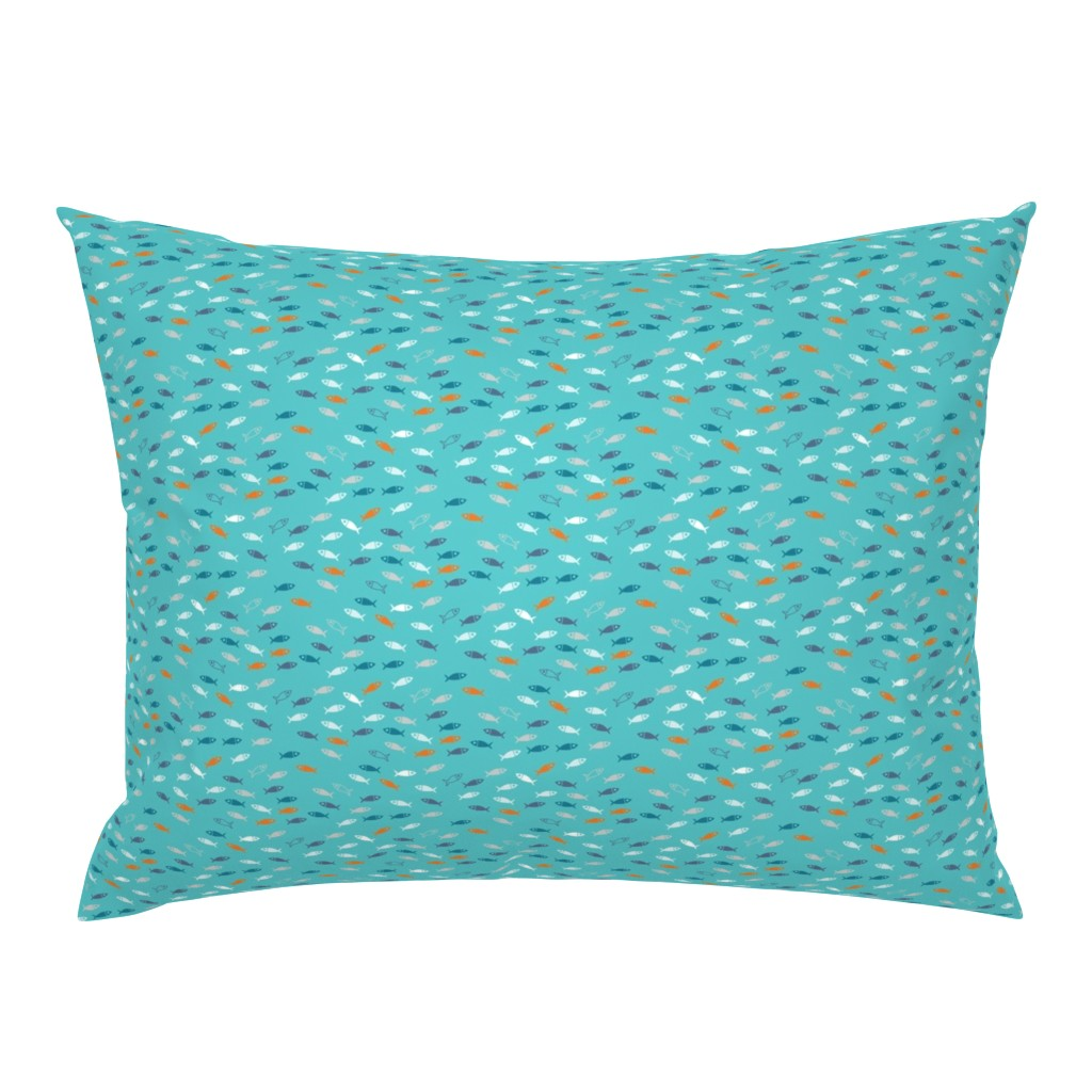Campine Pillow Sham featuring Arctic Fish - teal, orange and white on aqua by cecca