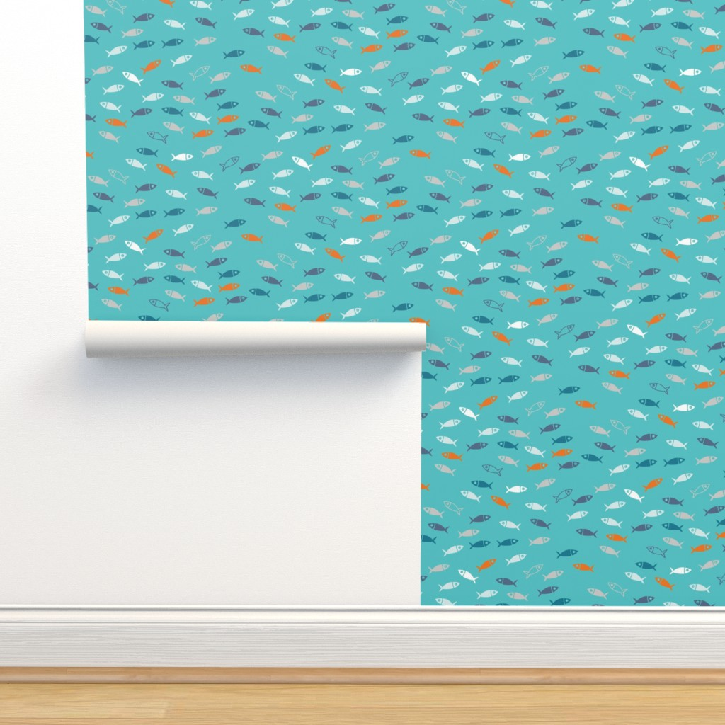 Isobar Durable Wallpaper featuring Arctic Fish - teal, orange and white on aqua by cecca
