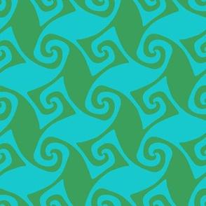 trellis in aqua and green