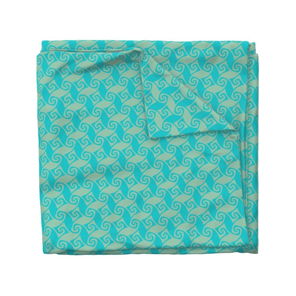 Wyandotte Duvet Cover featuring trellis in aqua and sea green by weavingmajor