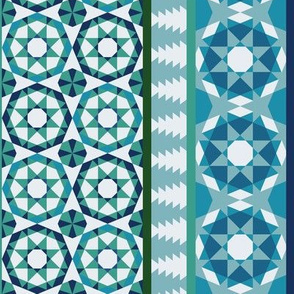 Alhambra Tessellations - Turquoise, blue and green on white - Vertical medium scale