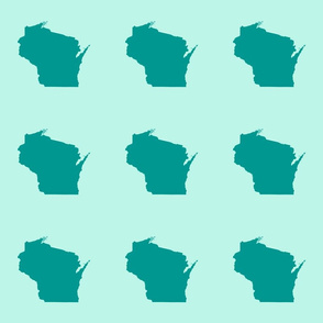 "Wisconsin silhouette - 6"" teal on mint"
