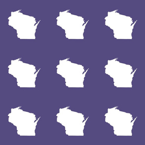 "Wisconsin silhouette - 6"" white on purple"