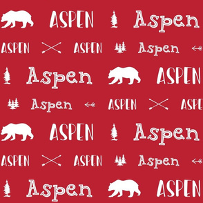 Woodland Boys Personalized Name // Red and White - Aspen