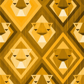 Kilim Lions in Yellow Shift - Large Scale