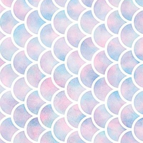 Rotated Mermaid Scales Pattern in Cotton Candy Watercolor