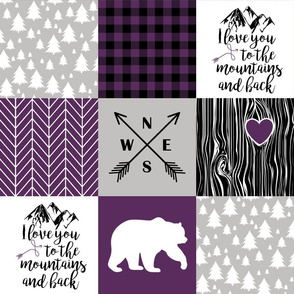 love you to the mountains - whole cloth cheater quilt - plum
