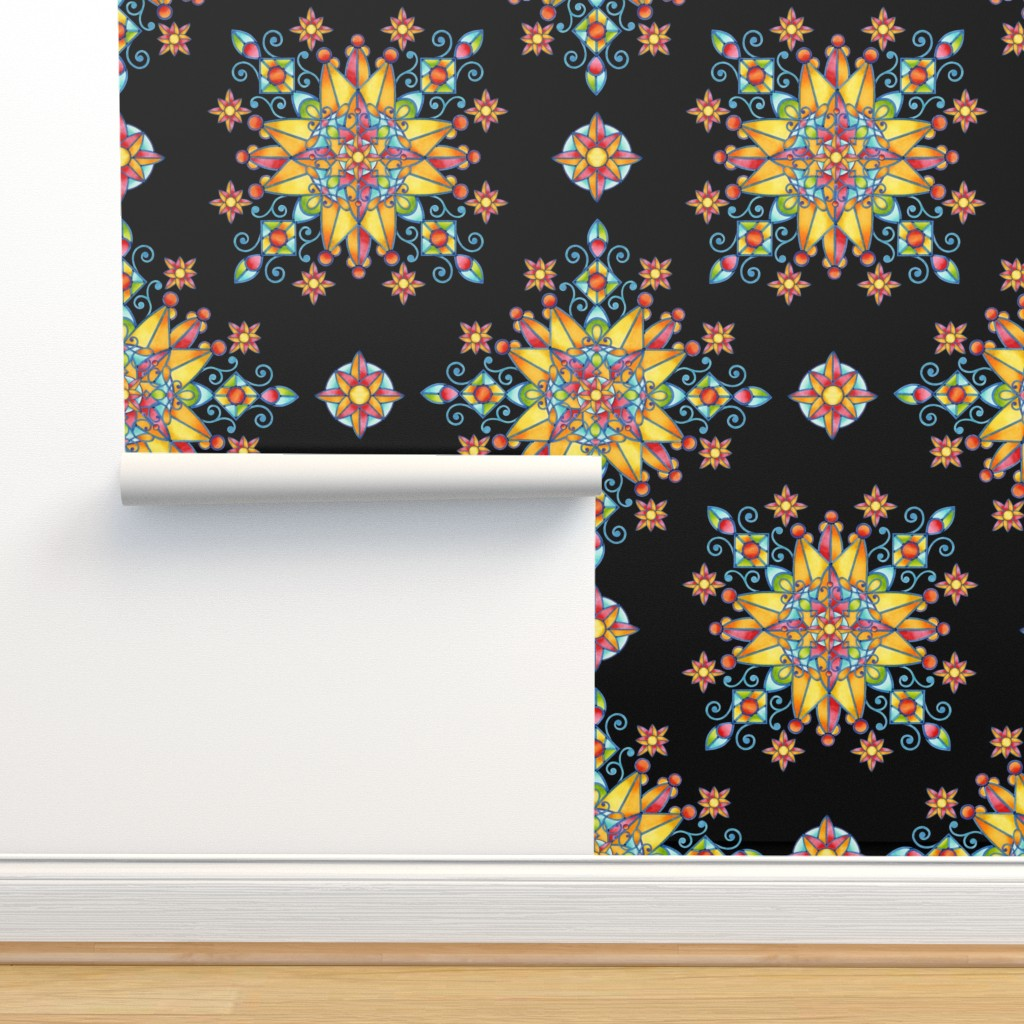 Isobar Durable Wallpaper featuring Stained Glass Sunburst by patriciasheadesigns