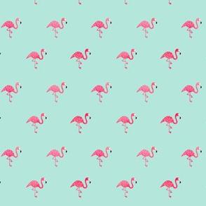 Flamingo watercolor mini on mint