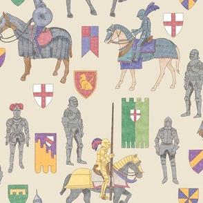 Watercolor Knights on Beige