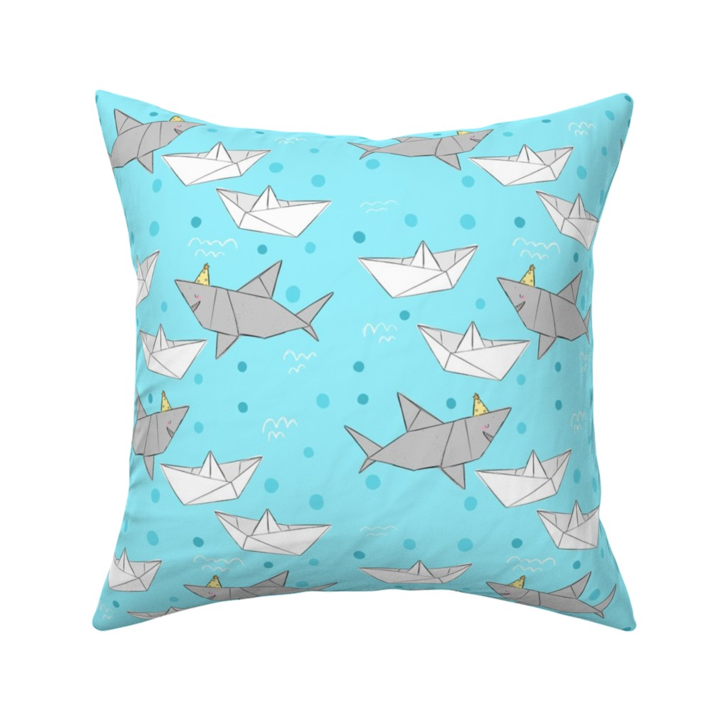Catalan Throw Pillow featuring Origami Sharks & Boats by how-store