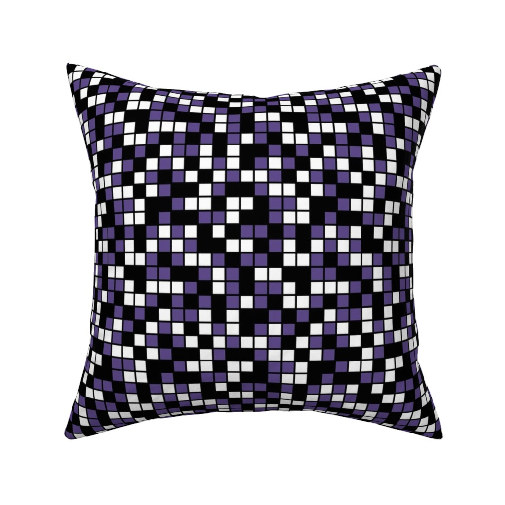 Catalan Throw Pillow featuring Medium Mosaic Squares in Black, Ultra Violet, and White by mtothefifthpower