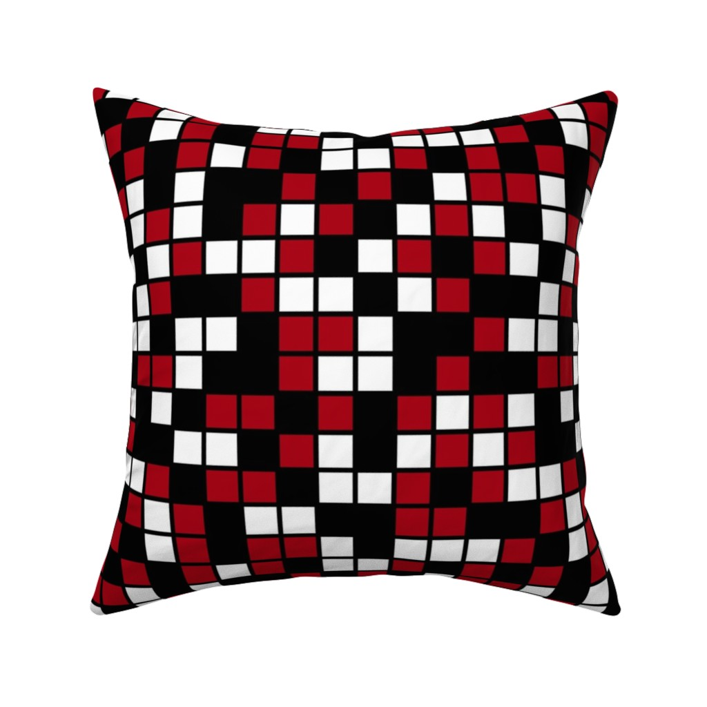 Catalan Throw Pillow featuring Large Mosaic Squares in Black, Dark Red, and White by mtothefifthpower
