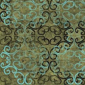 batik scroll - moss green