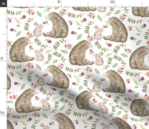 Fabric By The Yard Bear Bunny Friends Fl Woodland Baby S Nursery Bedding Gingerlous A