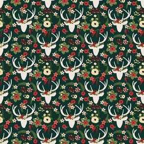 MICRO Forest Green Winter Deer Christmas Floral Red Green Winter Berries