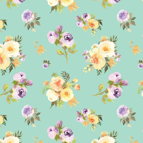 Purple and yellow floral on mint