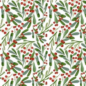 Mistleoe Berries Swirling Watercolor Mistletoe and Red Winter Berries Christmas Greenery and Berries Watercolor Christmas