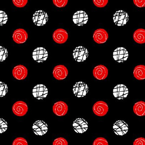 Doodle Buttons Black Red