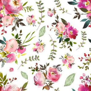 Watercolor Peonies & Roses - Floral Pink Plum Blush Flowers Garden Blooms Baby Girl Nursery B