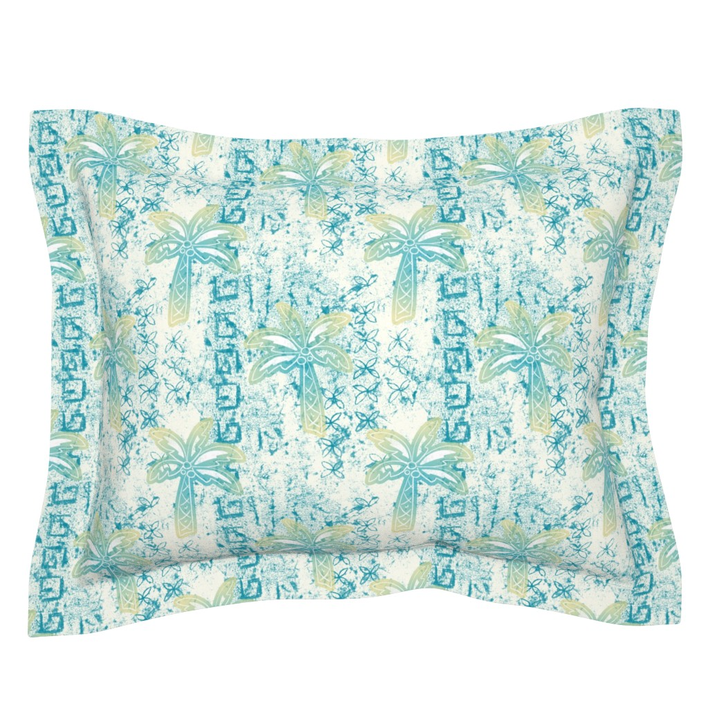 Sebright Pillow Sham featuring palms batik - teal by designed_by_debby