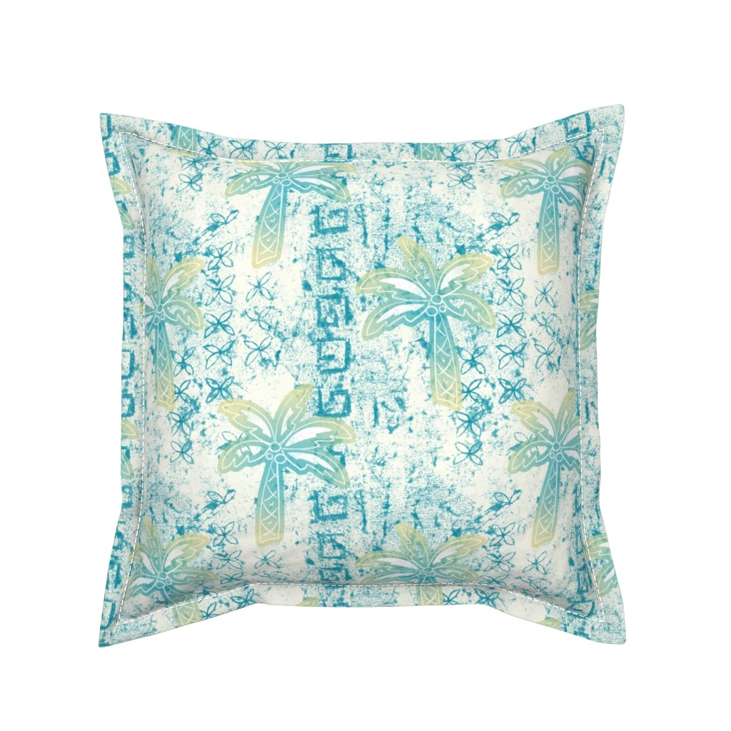 Serama Throw Pillow featuring palms batik - teal by designed_by_debby