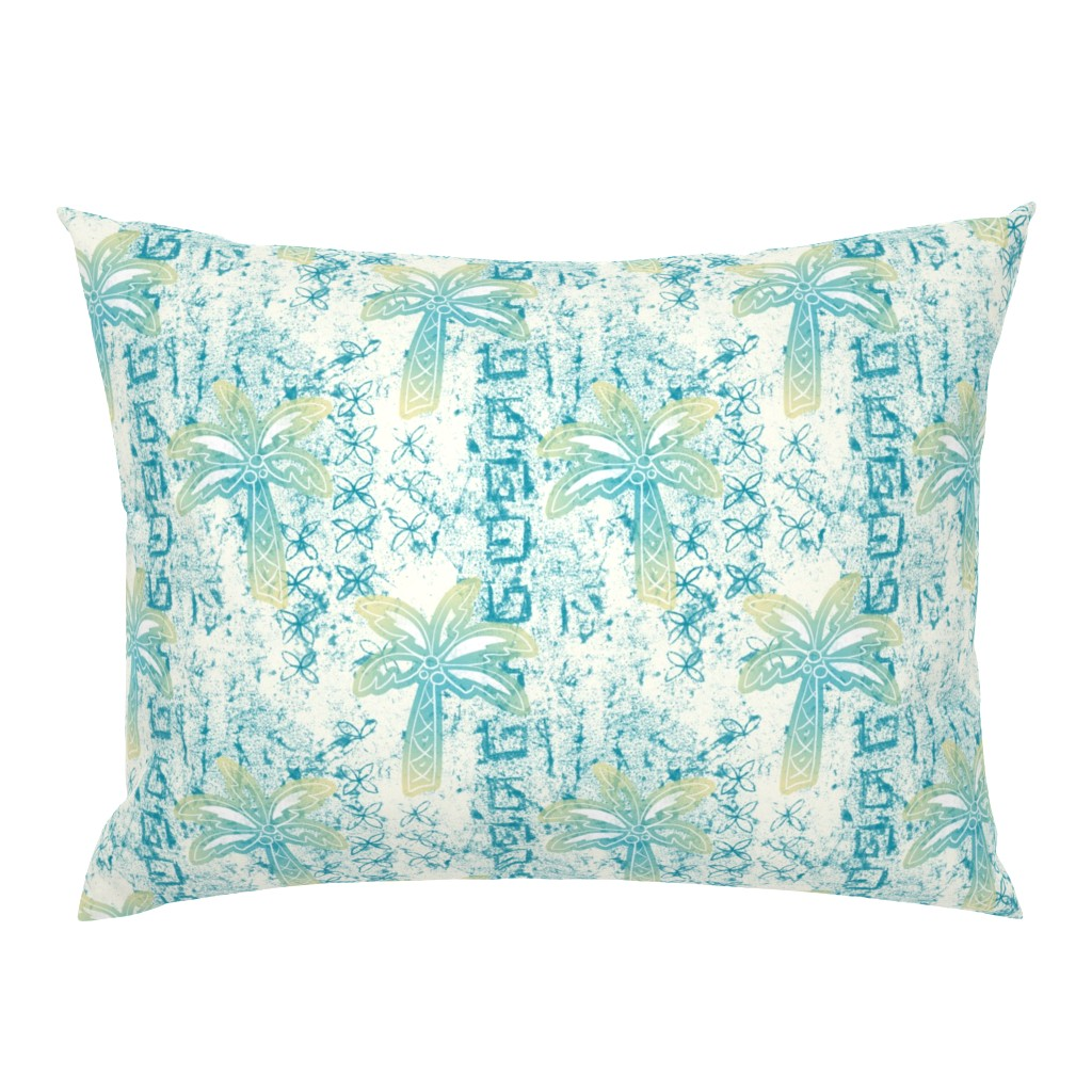 Campine Pillow Sham featuring palms batik - teal by designed_by_debby