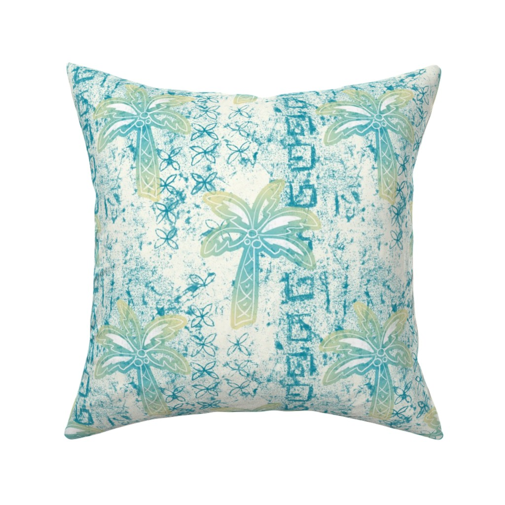 Catalan Throw Pillow featuring palms batik - teal by designed_by_debby
